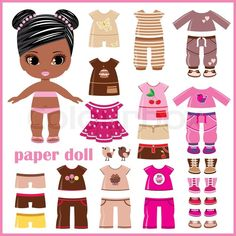 Stock vector of 'Paper doll with clothes set'