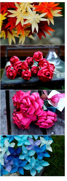 origami flowers.. love the roses! http://www.projectwedding.com/blog/2010/09/23/my-bohemian-summer-origami-bouquets/