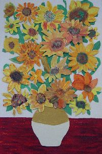 each child makes a sunflower and we recreate some van gogh!