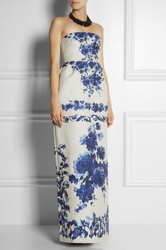 Valentino blue and white floral brocade gown