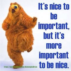 Because nice matters....bear in the big blue house, a toddler fave of my son.
