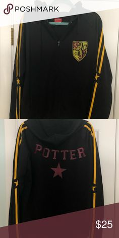 Harry Potter Gryffindor Track Jacket This jacket coincided with the release of Harry Potter and the Goblet of Fire! It's identical to the one Harry wore in the games; with his name emblazoned on the back and the Gryffindor logo on the front breast. It's a nylon/polyester track jacket that zips with a hood that can be tightened if necessary. It was worn a few times to a few HP movie releases and it saw the box of The Deathly Hallows books arrive at midnight :) Jackets & Coats Performance…