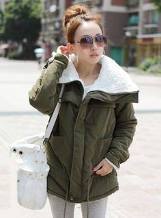 Lambswool Long Sleeve Coat Green