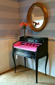 Have always wanted a vintage writing desk.  The pop of colour on the inside of this one is great.
