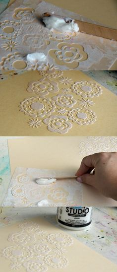 Add texture to your paper crafting. Don't know what that stuff is but that's a cool trick