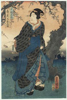 Beauty under a Plum Tree, 1855 by Toyokuni III/Kunisada (1786 - 1864)