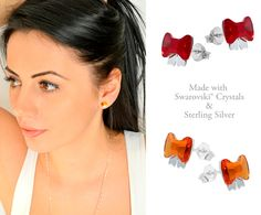 Bow Earrings made with Swarovski® Crystals & Sterling Silver    http://missi.ro/bijuterii/missi/cercei/cercei-fundite-topaz-cristale-swarovski.html