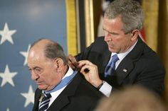 In this Sept. 23, 2005, file photo, President Bush presents the Medal of Honor to Cpl. Tibor Rubin, a Hungarian-born Holocaust survivor who joined the U.S. Army after his liberation from the Nazis. Lawrence Jackson/AP