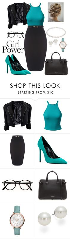 """""""My girl power"""" by ananais ❤ liked on Polyvore featuring Yves Saint Laurent, Burberry, FOSSIL and AK Anne Klein"""