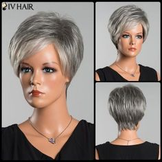 Siv Colormix Short Side Parting Fluffy Straight Human Hair Wig