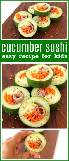 Kid Friendly Cucumber Sushi For Back To School Easy and Fun School Lunch Or Snack Idea For Kids, Perfect For Little Hands - Raising Whasians Via Raisingwhasians Quick Snacks, Healthy Snacks For Kids, Healthy Recipes, Cooking With Kids, Easy Cooking, Cooking School, Healthy Cooking, Cooking Oil, Cooking Classes