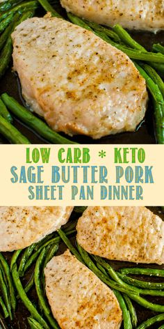 Low Carb Keto Sage Butter Pork Chop Sheet Pan Dinner is hands down, a winner! Ready in 20 minutes, it's perfect for busy weeknights. Nutritious and delicious! #keto #lowcarb #pork #leanandgreen #healthydinner #healthyrecipe via @BackForSeconds Low Carb Dinner Recipes, Healthy Recipes, Lean Recipes, Paleo Dinner, Vegetarian Recipes, Pork Chop Seasoning, Pan Pork Chops, Sage Butter, Chops Recipe