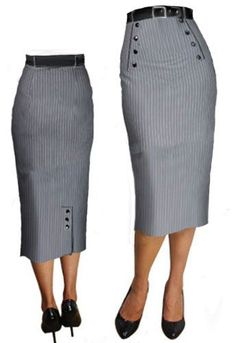 Pin Stripe Skirt Design by Amber Middaugh. Mode Outfits, Skirt Outfits, Dress Skirt, Modest Fashion, Fashion Dresses, Stripe Skirt, Work Attire, African Fashion, Work Wear