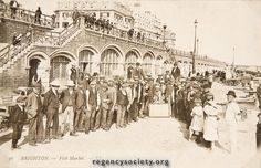 THE FISH MARKET For comparison, two much later views of the Market. Period between 1900 -1914. Image Reference: JG_03_164.tif Date: 1900-1914 Image Details: Post card Size of Original: 136x88 Place: Brighton