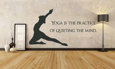 FREE SHIPPING Yoga Is The Practice Of Quieting The Mind Wall Decal Custom Size and Color --- SO getting this after i buy my own house and install aerial sling ... make yoga room. YES!