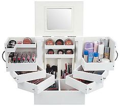 Awesome make-up organization by Laurie Greiner from QVC. It can hold all of your lipsticks, eyeshadows, foundations, eyeliners, etc!