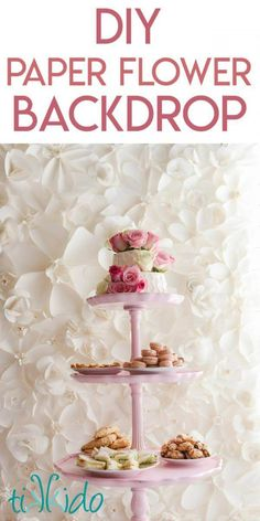 Tutorial for making large paper roses, part of a paper flower backdrop project for The Secret Garden baby shower. Flower Wall Backdrop, Floral Backdrop, Diy Backdrop, Paper Flower Wall, Wall Backdrops, Giant Paper Flowers, Paper Roses, Diy Flowers, How To Make Backdrop