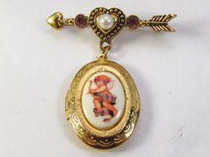 Vintage Avon locket brooch pearl rhinestone transfer by jewelry715