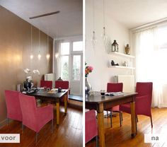 Restyling project appartement Amsterdam / woonkamer voor en na