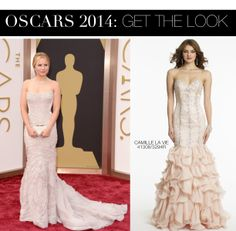 Kristen Bell Oscar 2014 Dress vs Camille La Vie Drop Waist Corkscrew Skirt Prom Dress