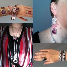 Pink n silver glitter and bling. Top from an op shop, Jewel Divas earrings and bracelet stack