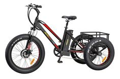Addmotor Electric Tricycle 24 Inch Fat Tire Electric Bicycle Trike Three Wheel Bikes Lithium Battery Rear Basket Cargo Tricycle Ebike Red *** You can find more details by visiting the image link. (This is an affiliate link) Best Electric Bikes, Electric Tricycle, Electric Scooter, Electric Cycles, Tricycle Bike, Adult Tricycle, Third Wheel, Big Wheel, Scooters