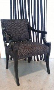 Redelman: Upholstery in Keyorama - Slate, Drape Faenza Stripe - Black