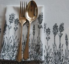 lavender screenprint Napkins on recycled cotton fabric