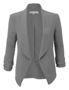 Sharpen your wardrobe with this lightweight ruched 3/4 sleeve open front blazer jacket. A softly draped open-front silhouette softens the look while the ruched sleeves adds a modern touch to this blazer. This blazer is perfect for either professional environment or for casual wear. Feature 97% Polyester / 3% Spandex Lightweight, ultrasoft material for comfort 3/4 Ruched sleeves / No closure Draped front / Asymmetrical hem Dry clean only Please look at the measurements below for guidance…