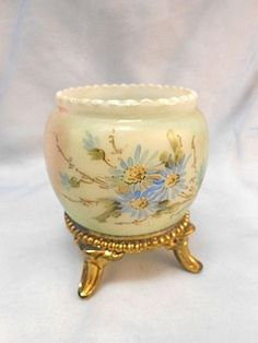 Antique Wave Crest Wavecrest Glass Floral w Ormolu Toothpick Holder (goes in our mouthand people chew on them, therfore a condiment | eBay