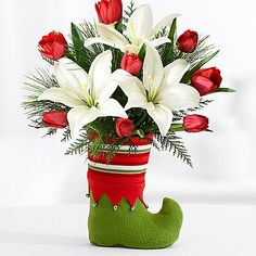 Deluxe Stuffed Stocking with Elf boot and other flowers & plants at ProFlowers.com