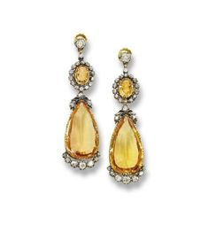 Topaz and diamond earrings, c. 1880.
