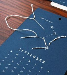 Calendar with embroidery