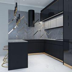 Kitchen Design Open, Luxury Kitchen Design, Contemporary Kitchen Design, Kitchen Cabinet Design, Luxury Kitchens, Kitchen Designs, Open Kitchen, Modern Kitchen Interiors, Modern Home Interior Design