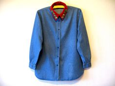 Blue Denim Shirt Long Sleeve Button up by VintageDreamBox on Etsy
