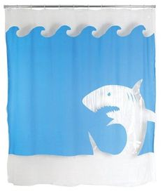Kikkerland Jaws Shower Curtain 72 Inch by 72 Inch New Curtains Shower