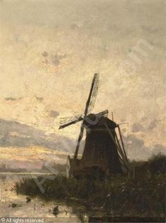 SCHIEDGES Petrus Paulus - A windmill at dusk