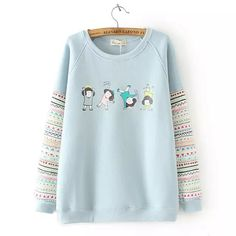 Sweater Shirt with Cartoon Girls - Thumbnail 1