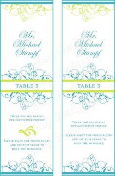 Photo Booth Placecards 2x6 photo frames by iDoArtsyWeddings, $33.00