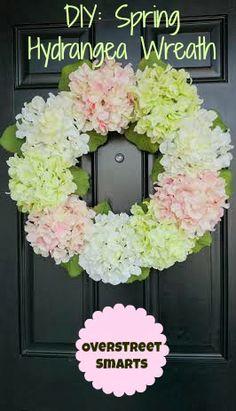 Overstreet Smarts: DIY: Spring Hydrangea Wreath. Avoid the straw wreath, it's so messy.