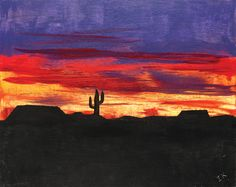 """""""West Texas Sunset"""" is our featured art of the week by Irene Klein at Arden Courts of San Antonio."""