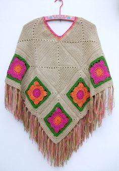 Ponchos con flores - Crochet - Tejidos de Punto - 266
