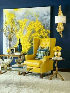 This palette juices me up - navy is the perfect accent color for yellow!