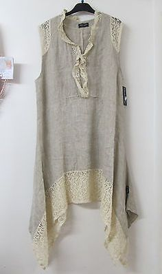 Sarah Santos Lagenlook Beige Linen Lace Tunic Summer Dress Layered Oversized New | eBay: