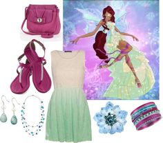 Layla - Harmonix by catloverd featuring flower hair accessories Ombre dress, $38 / Ankle strap shoes / Elle quilted handbag / Fresh water pearl earrings / Haskell / Sea shell jewelry / Tarina Tarantino flower hair accessory Requested By: http://starlight-ghost.tumblr.com/
