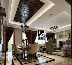Luxury Homes : Luxury Home Interior Design Ideas Contemporary In China Modern Chinese Interior' Home Interior Design' Home Interior Design Ideas and Luxury Homess Ceiling Design Living Room, False Ceiling Design, Dining Room Design, Kitchen Design, Modern Chinese Interior, Modern Asian, Classic Interior, Traditional Interior, Modern Design