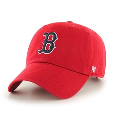 """Boston Red Sox 47 Brand Red """"B"""" Logo Clean Up Adjustable Slouch Hat Cap"""