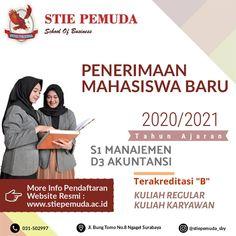 Dibuka Pendaftaran Calon Mahasiswa/i Baru Kampus STIE PEMUDA SURABAYA TA. 2020/2021. Prodi D3 - Akuntansi & S1 - Manajemen. Pendaftaran masih terbuka . Kirimkan pesan ke nomor / bisa langsung datang ke kampus kami. Cek link di bawah ini...!  Address : Jl. Bung Tomo, No. 8 Surabaya  Phone : (031) 503 35 98   Fax : (031) 505 70 50  Website : www.stiepemuda.ac.id Instagram : @stiepemuda.sby  #Kuliahsambilkerja #kuliahkelaskaryawan #kuliahs1surabaya #kuliahs1murahsurabaya Surabaya, Study, Memes, Business, School, Amazing, Studio, Meme, Studying