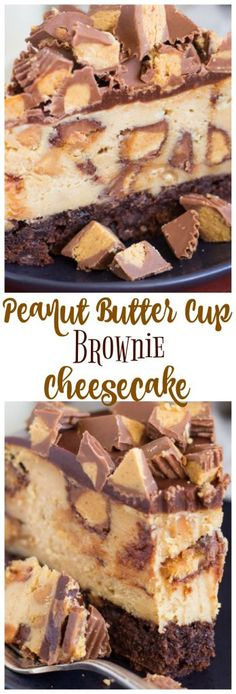 This Peanut Butter Cup Brownie Cheesecake is the end all and be all of chocolate and peanut butter!