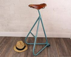 Victoria: Max McMurdo's upcycled bike saddle stool in honour of British cyclist Victoria Pendleton Recycled Furniture, Handmade Furniture, Furniture Projects, Diy Furniture, Furniture Design, Saddle Chair, Automotive Furniture, Automotive Decor, Bike Seat